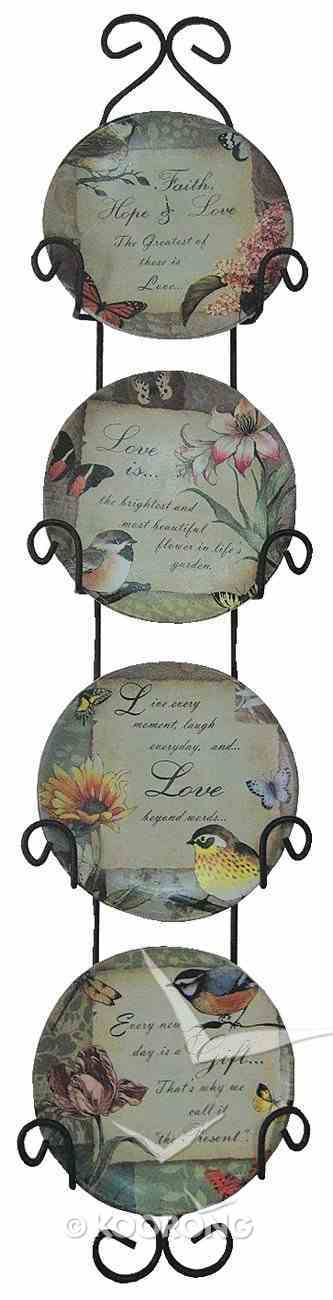 Ceramic Plates Set of 4 With Rack: Faith, Every New Day, Love Is, Love Homeware