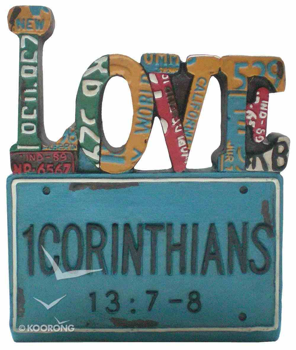 Love Word Plaque, 1 Corinthians 13: 7-8 Homeware