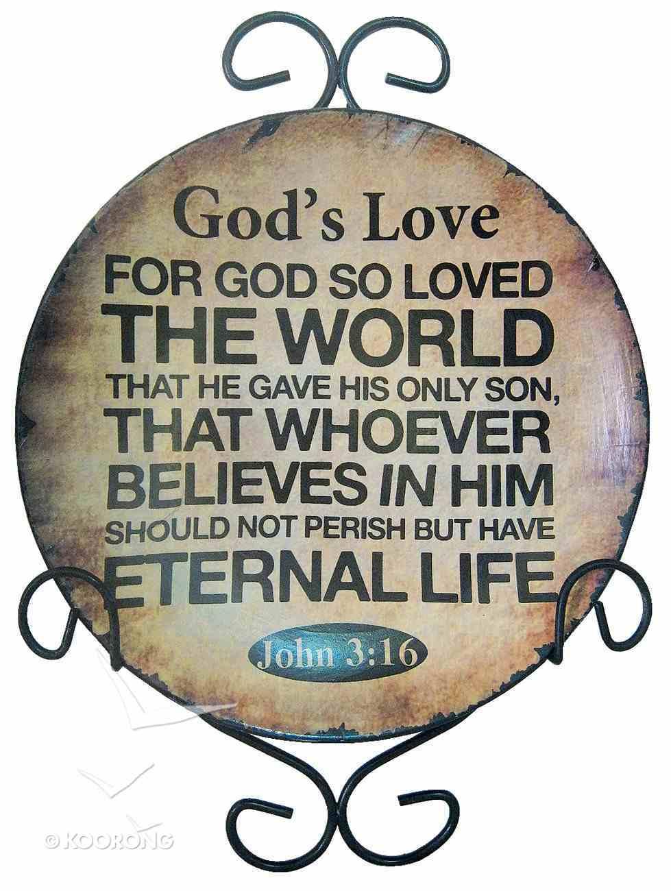 Ceramic Plate With Rack: God's Love, John 3:16 Homeware