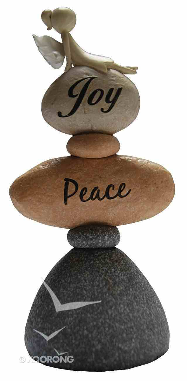 Polyresin Angel on Stone, Joy, Peace Homeware