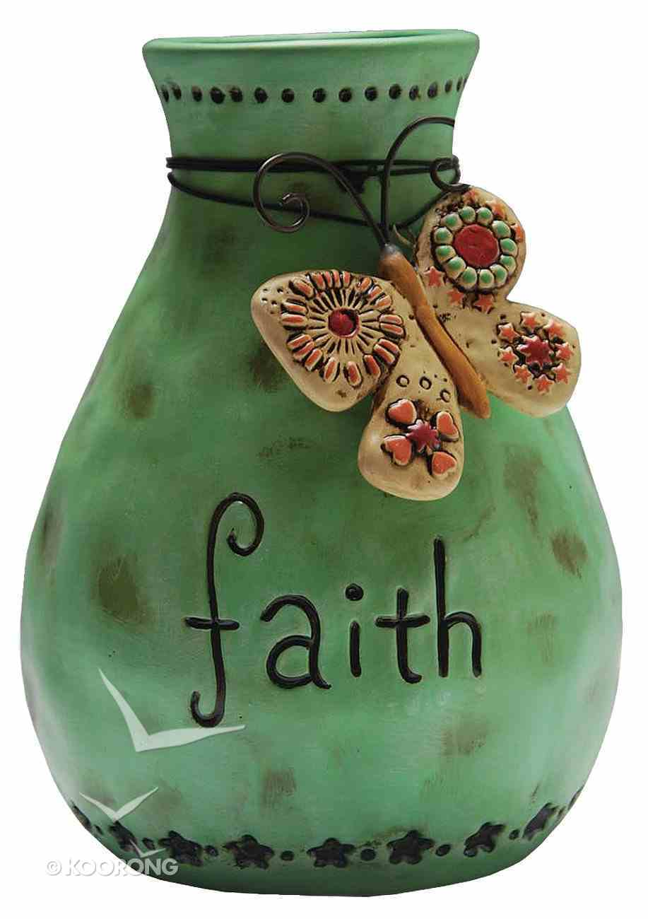 Vase Faith, Green With Butterfly Homeware
