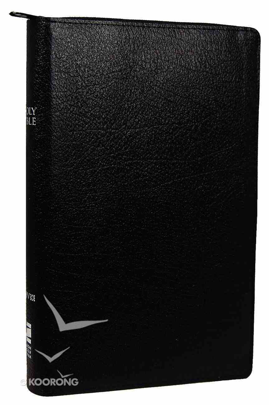 NIV Thinline Zippered Bible Black (Red Letter Edition) Bonded Leather