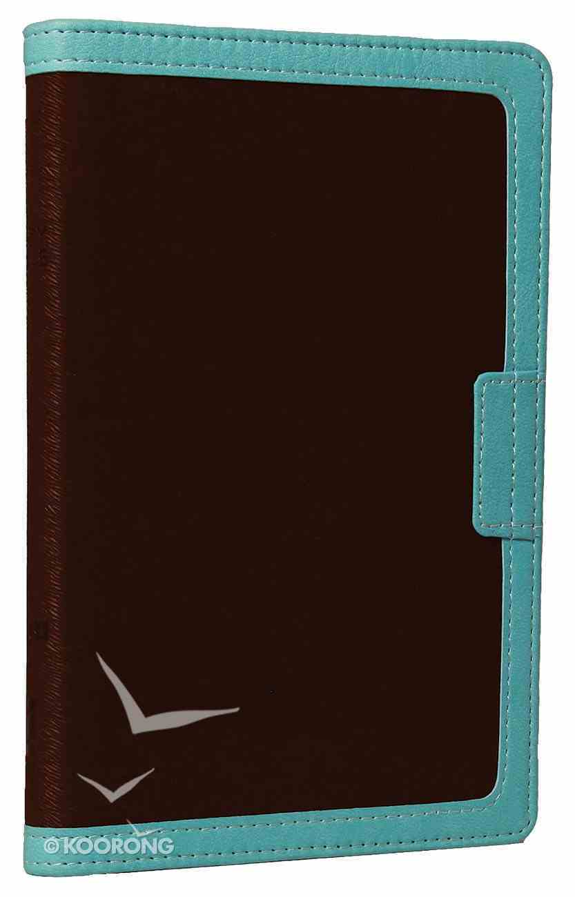 NIV Compact Thinline Bible Zippered Chocolate/Turquoise Duo-Tone (Red Letter Edition) Imitation Leather