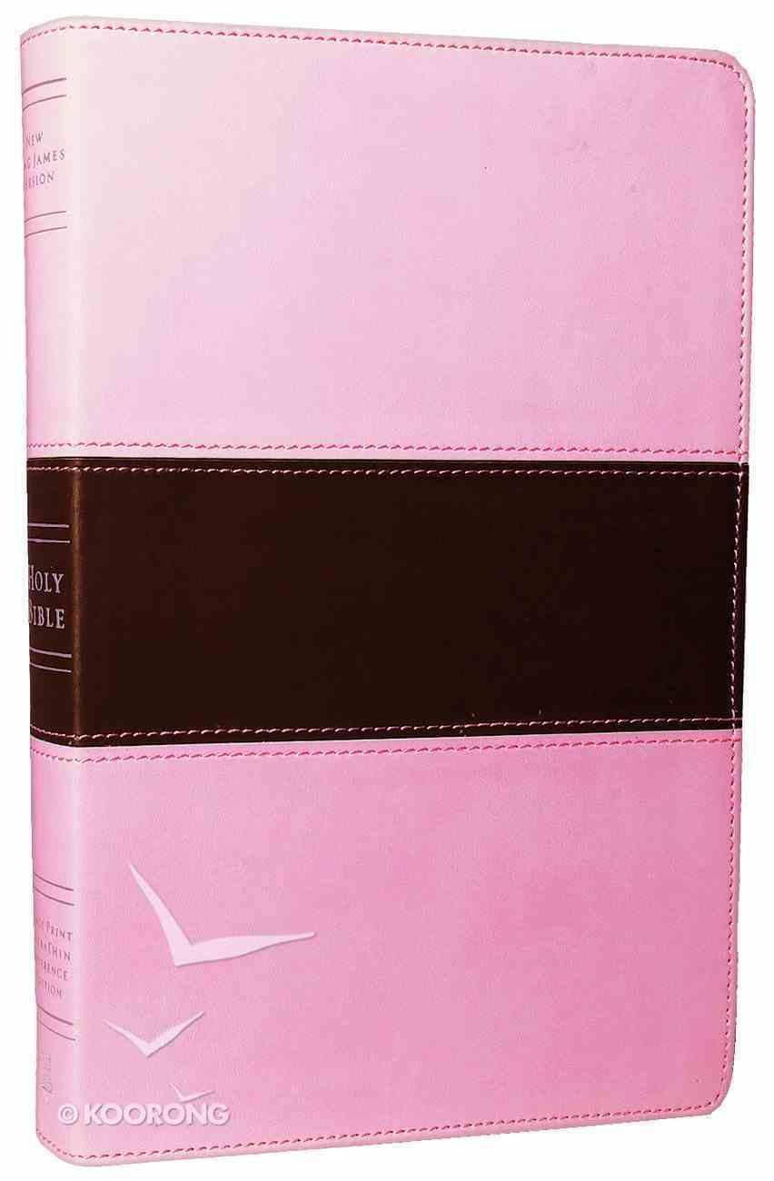 NKJV Large Print Ultrathin Reference Bible Pink/Brown (Red Letter Edition) Imitation Leather
