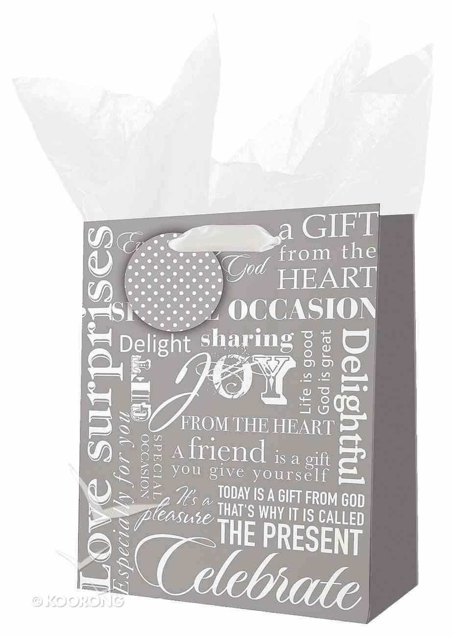 Gift Bag Small: Rejoice White/Gray Stationery