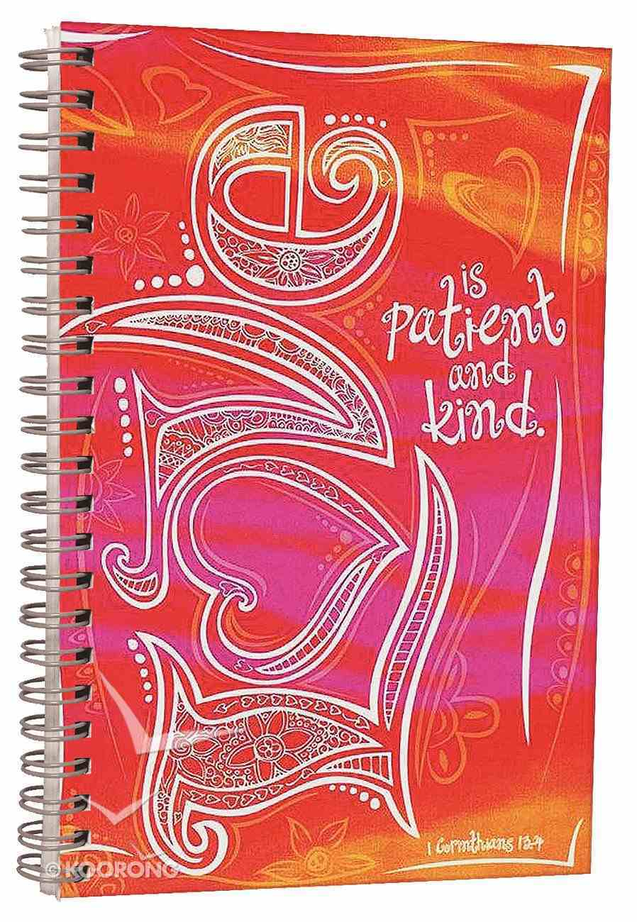 Journal: Love is Patient and Kind, Orange/Pink Spiral