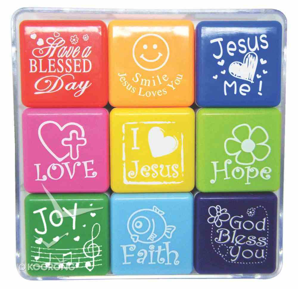Christian Stamp Box Set of 9 Stamps, Each Stamp Size is 28Mm X 28Mm Novelty