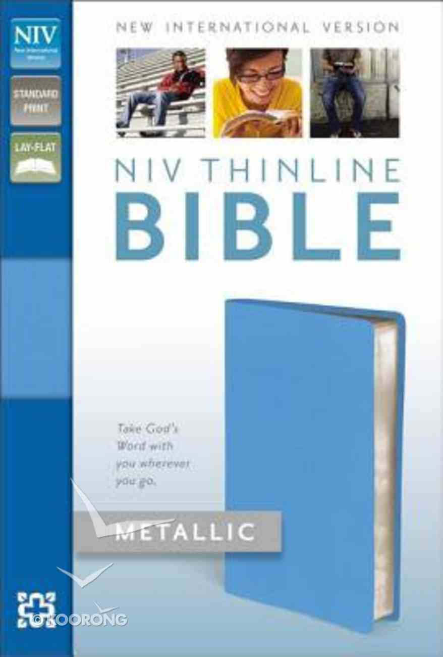 NIV Thinline Metallic Collection Bible Blue (Red Letter Edition) Bonded Leather