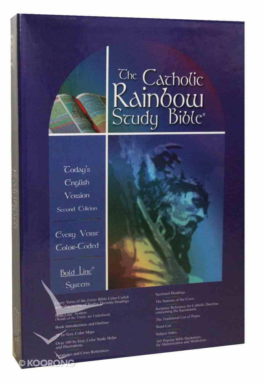 Tev Catholic Rainbow Study Bible Navy Bonded Leather