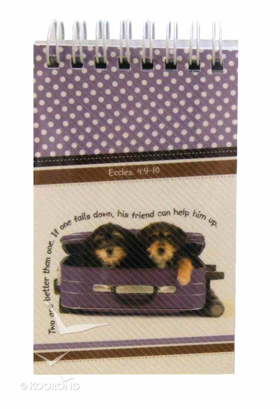 Notepad: Cute Animal Sitting in Purple Suitcase, With Scripture Spiral