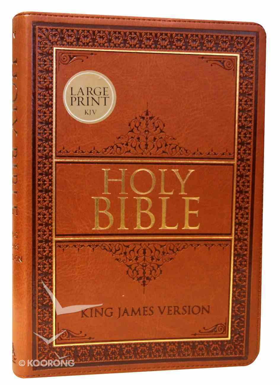 KJV Large Print Thinline Bible Indexed Tan Red Letter Edition Imitation Leather