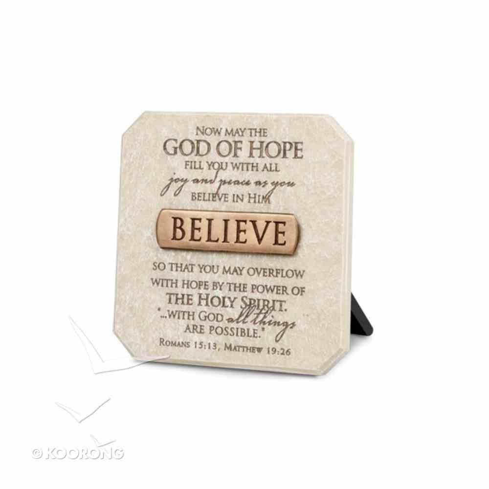 Bronze Title Bar Cast Stone Plaque: Believe Homeware
