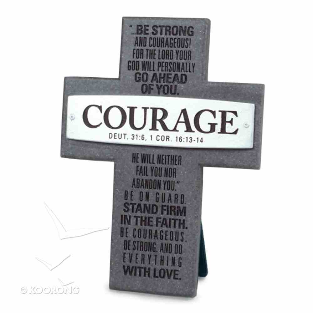 Cross Cast Stone: Courage: Badge of Faith Homeware