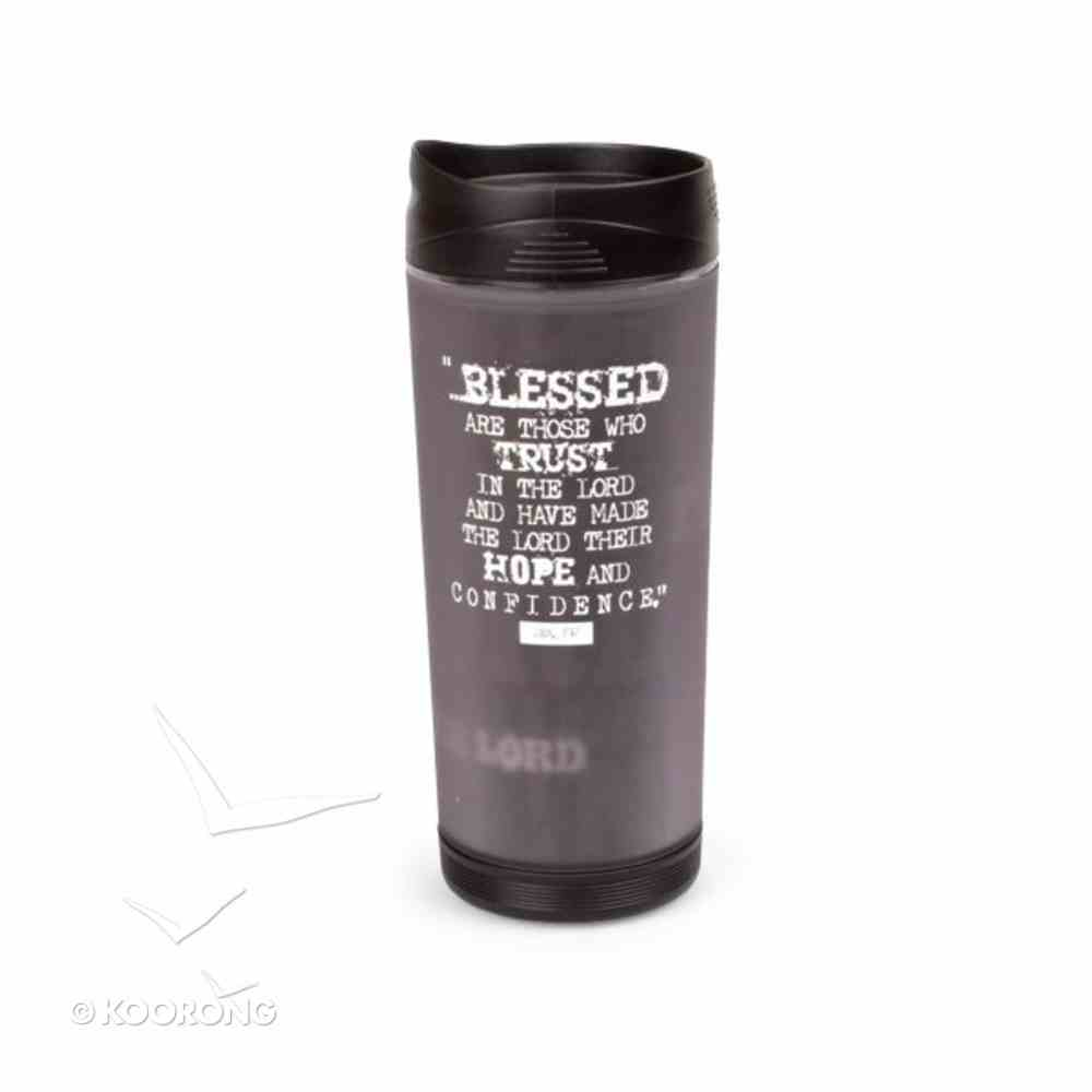 Black Block Print Acrylic Tumbler Mug: Hope in the Lord Homeware