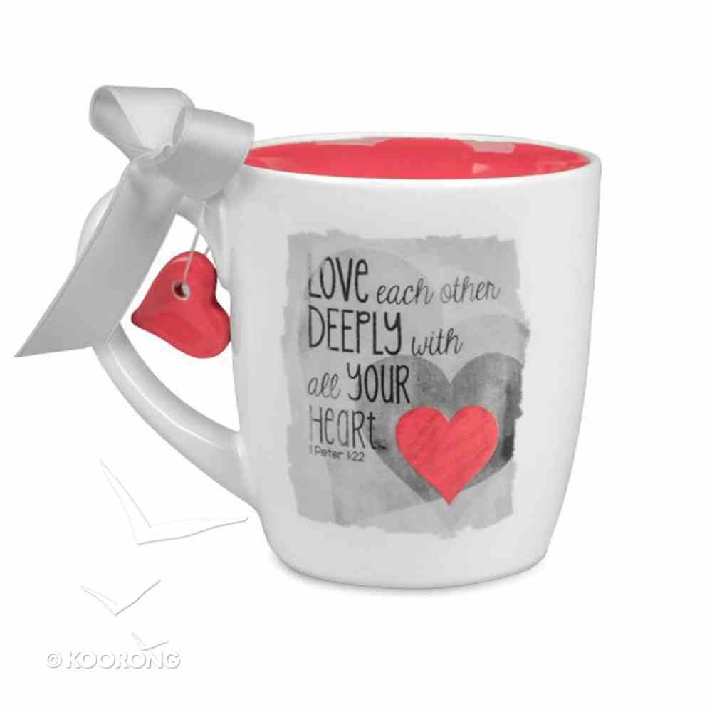 Blessings on Canvas Ceramic Mug: Love Deeply With Red Heart Homeware