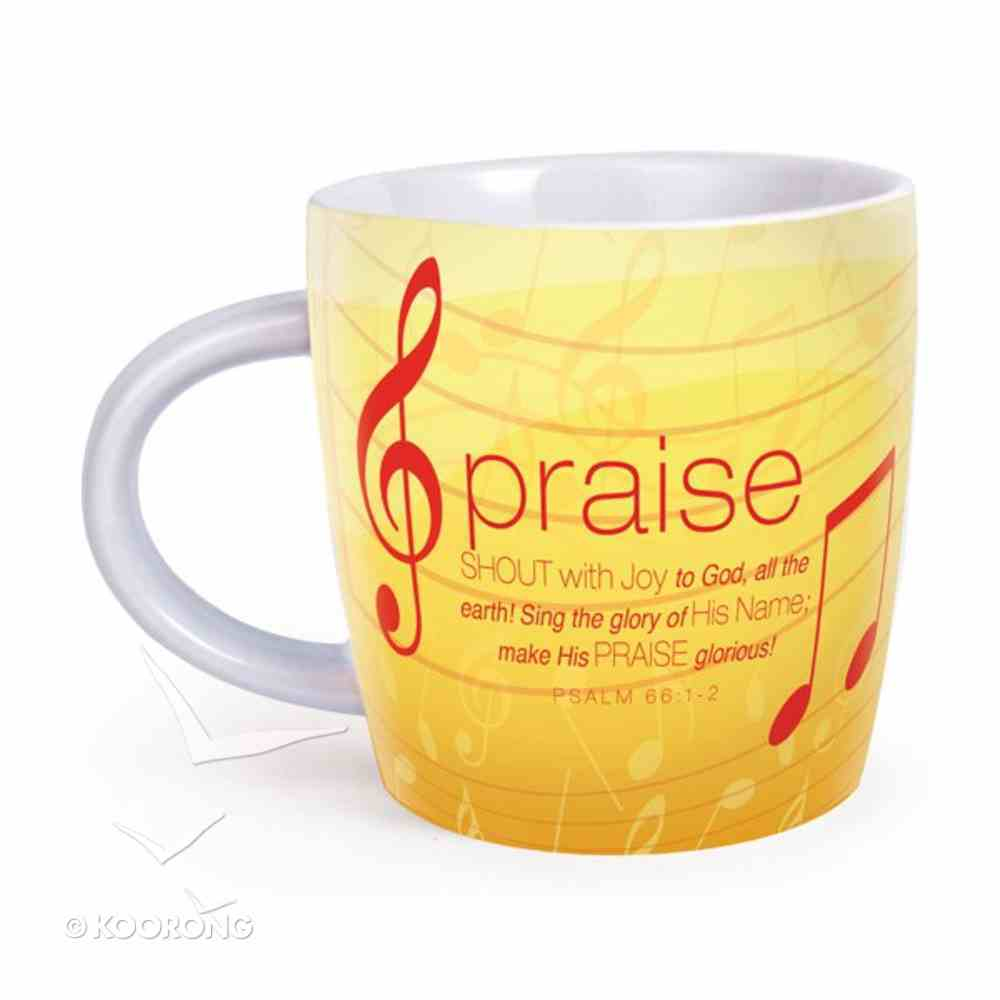 Encouragement Mug: Cup of Praise Psalm 66:1-2 (Yellow) Homeware