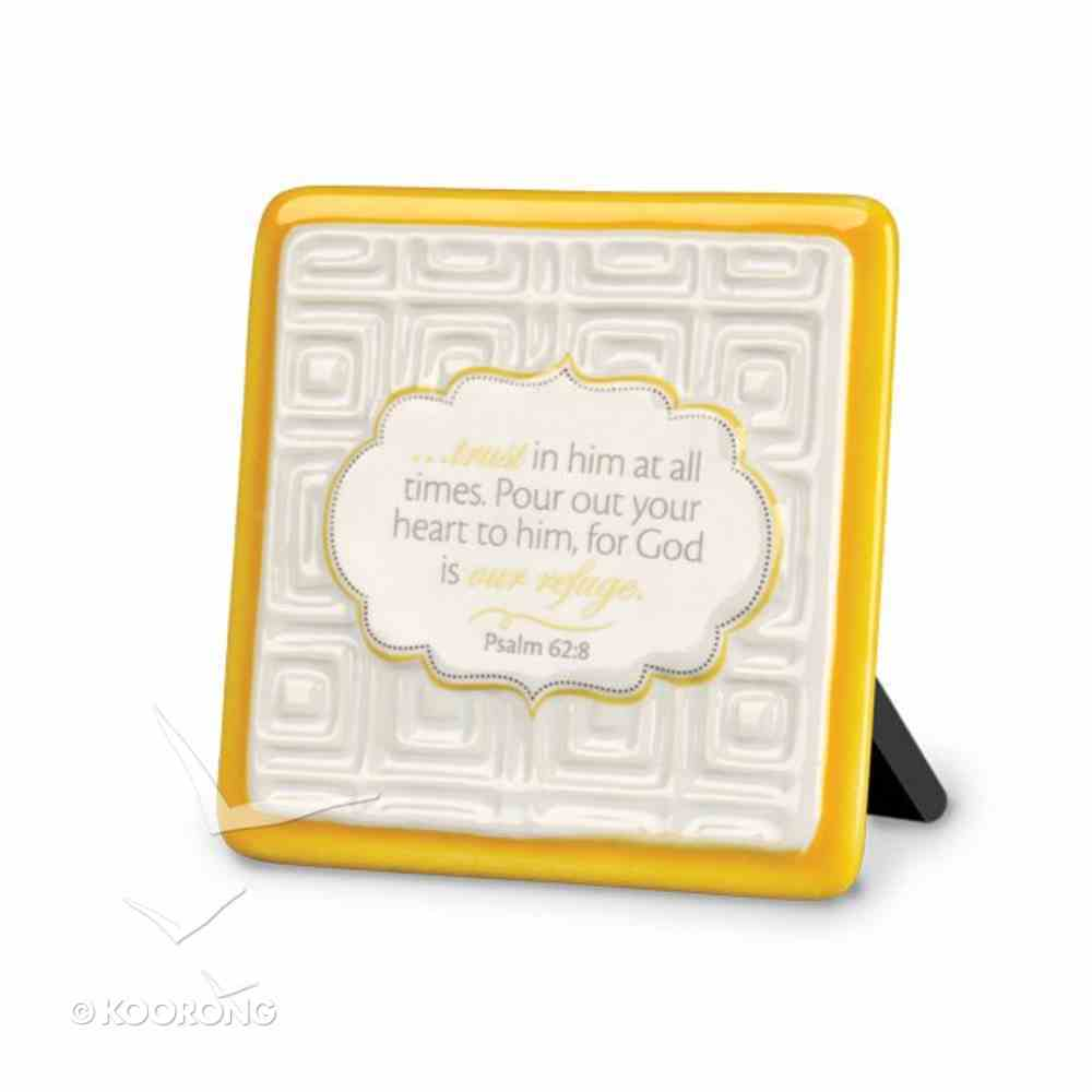 Pattern of Praise Ceramic Plaque: Trust in Him At All Times (Yellow) Homeware