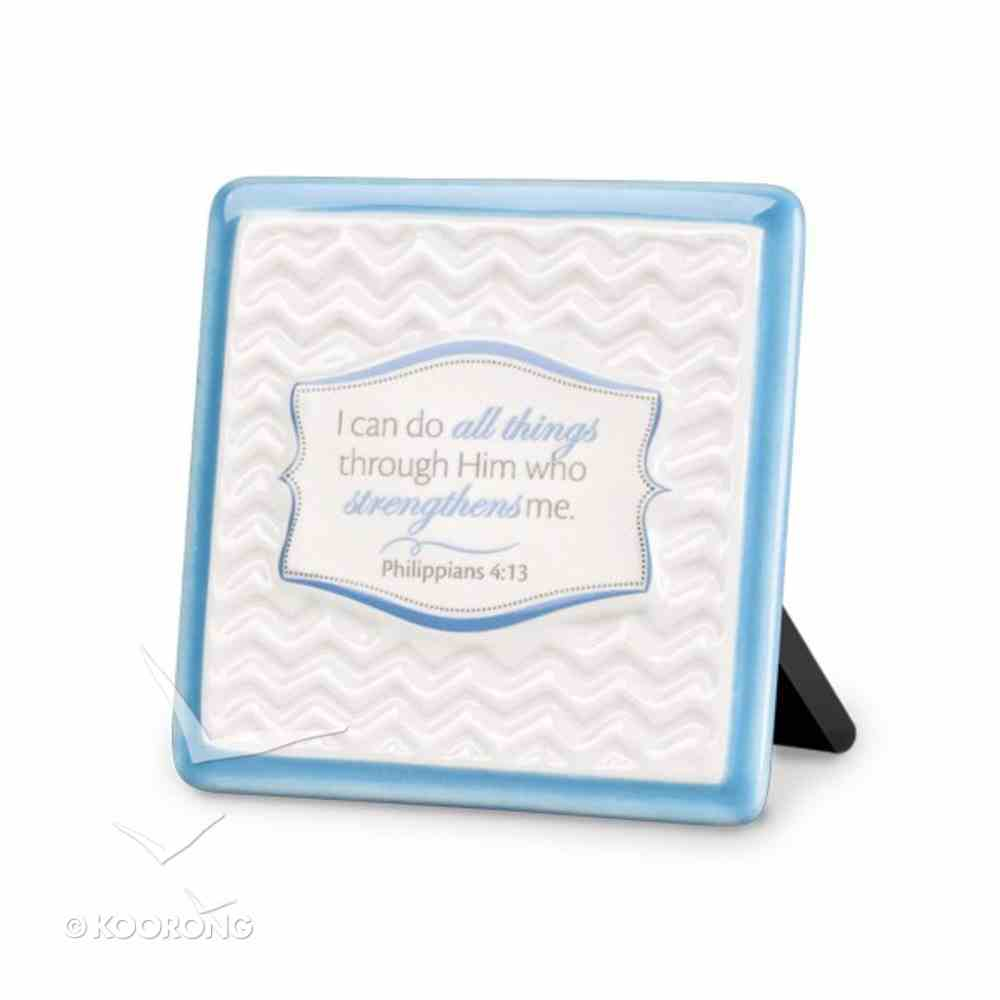Pattern of Praise Ceramic Plaque: I Can Do All Things (Blue) Homeware