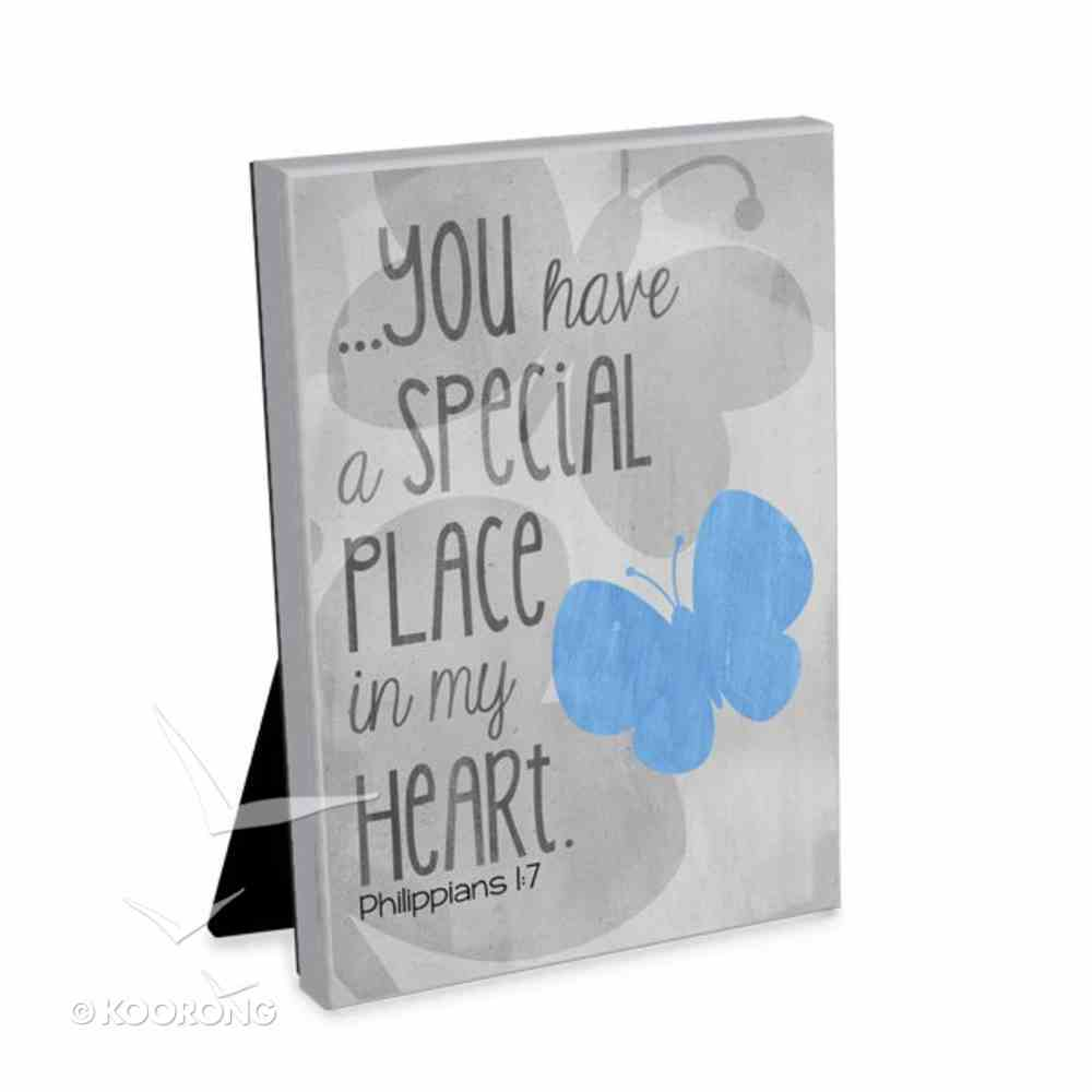 Blessings on Canvas Plaque: You Have a Special Place With Blue Butterfly Plaque