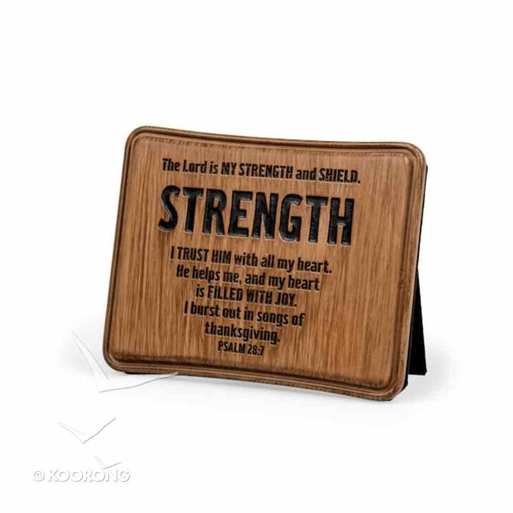 Wood Look Cast Stone Plaque: Strength Plaque