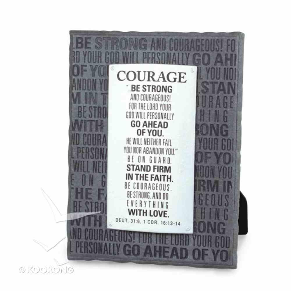 Badge of Faith Cast Stone Plaque: Courage Plaque