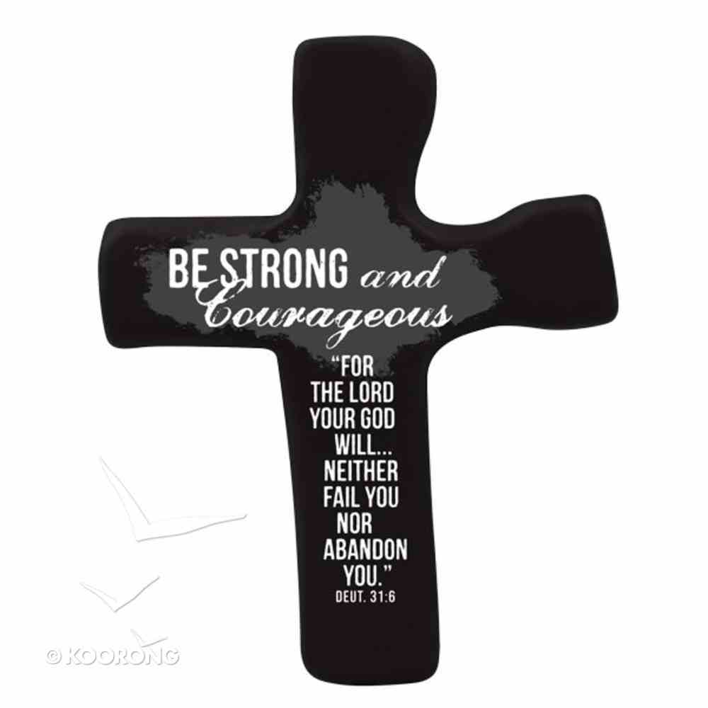 Squeezable Foam Rubber Palm Cross: Be Strong & Courageous (Black) Homeware