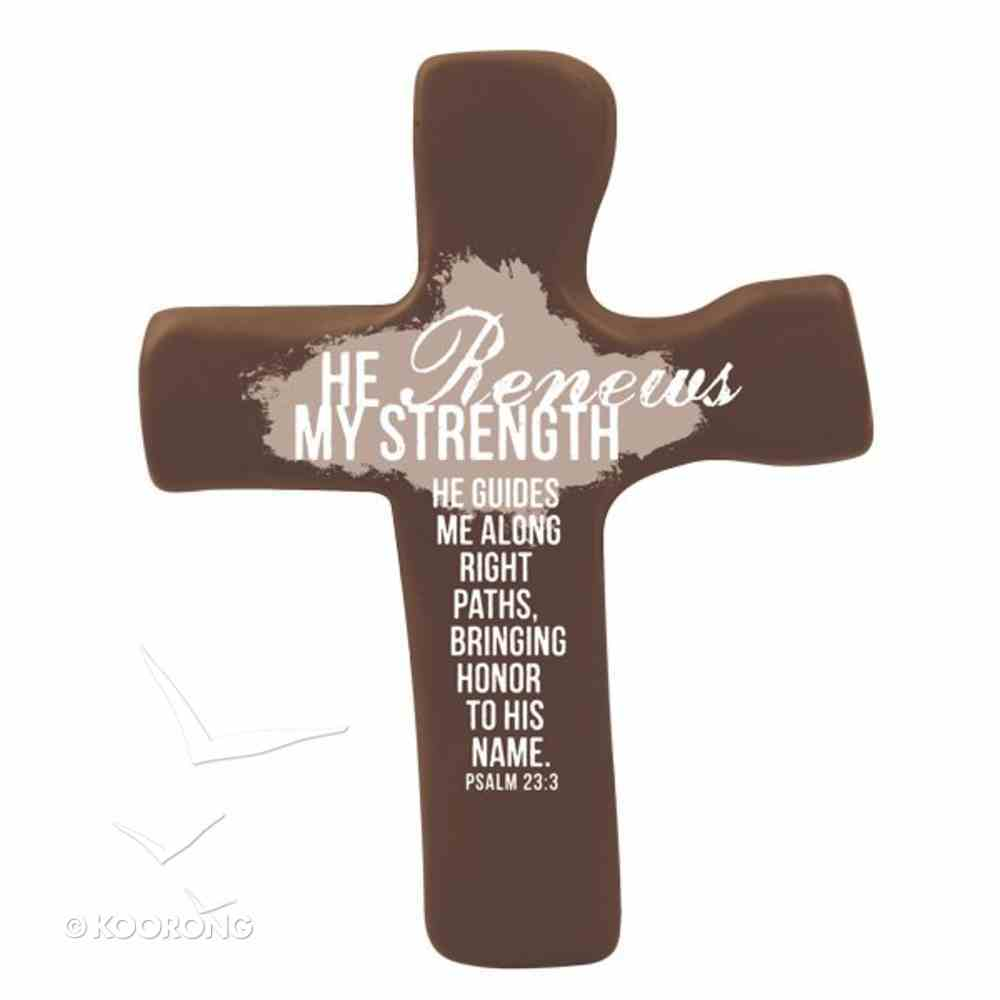 Squeezable Palm Cross: He Renews My Strength (Brown) Homeware
