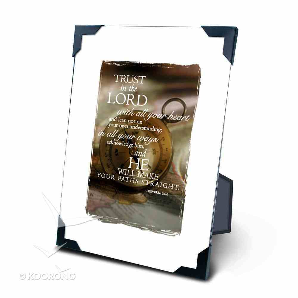 Framed: Compass Proverbs 3:5-6 Plaque