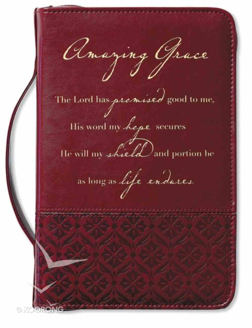 Amazing Grace Bible Cover Large Italian Duo-Tone Rich Red Bible Cover