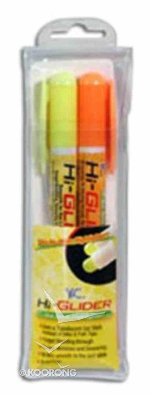 Bible Hi Glider Gel Stick Set: 1 Yellow 1 Orange Gel Stick, Will Not Bleed Through Stationery
