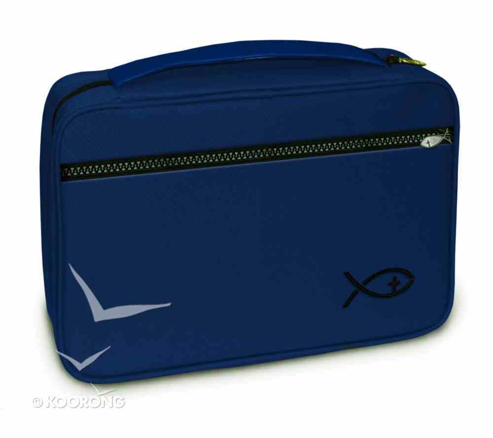 Bible Cover Deluxe With Fish Symbol: Navy Xlarge Bible Cover