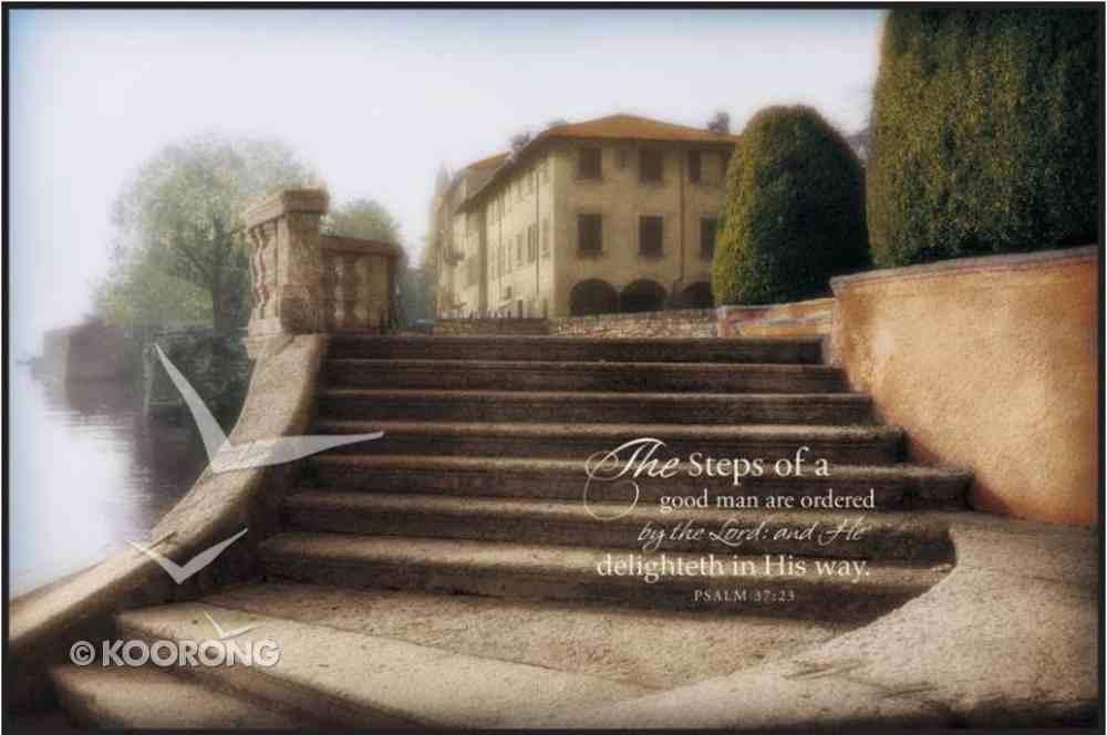 Mounted Print: Villa Largo Di Como, Steps of a Good Man Psalm 37.23, on Mbf Board Plaque