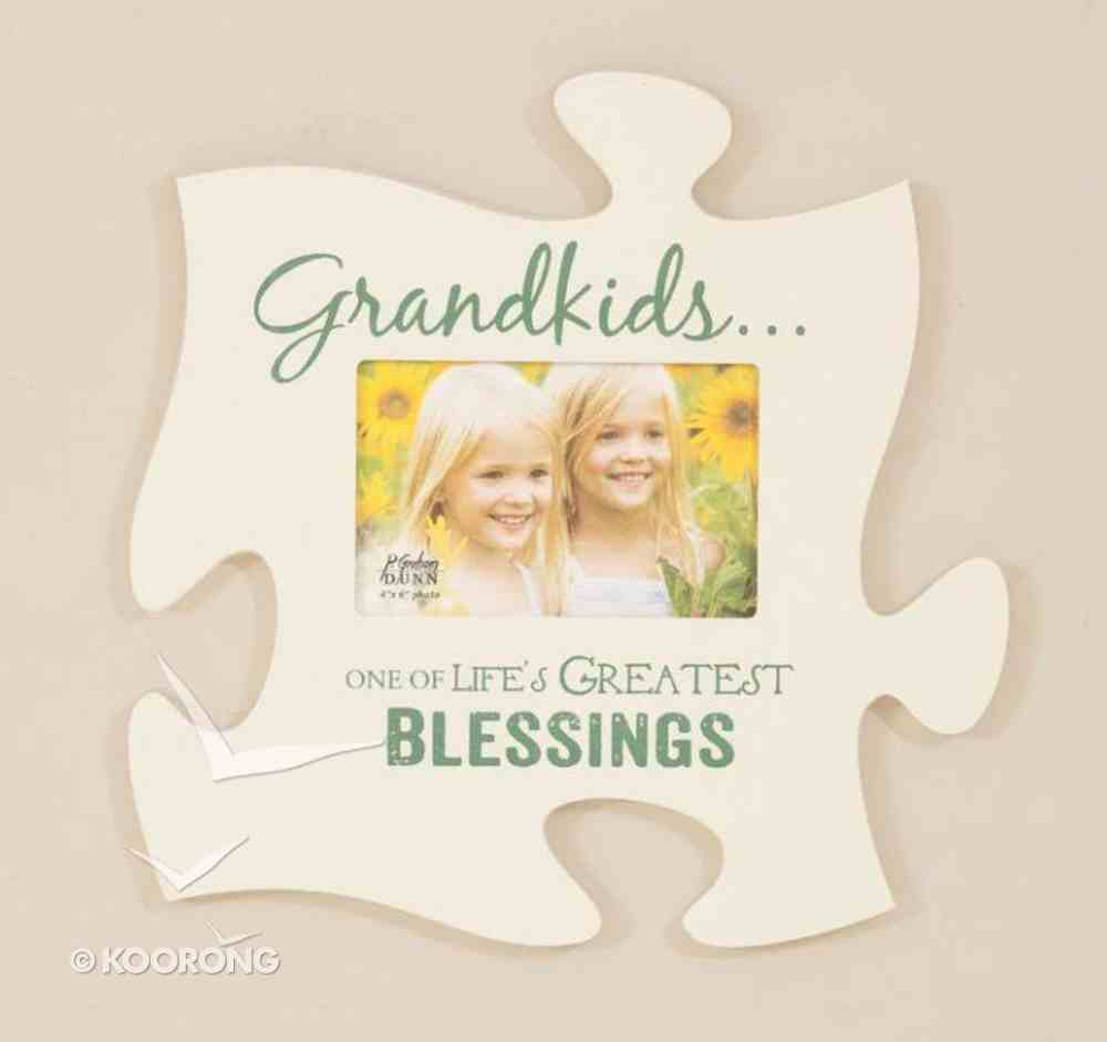 Puzzle Pieces Wall Art: Grandkids (Holds 1 4x6 Photo) Plaque
