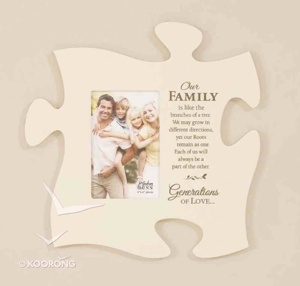 Puzzle Pieces Wall Art: Our Family (Holds 1 4x6 Photo) Plaque
