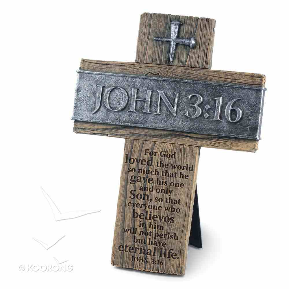 Cross: John 3:16 (Polyresin) Plaque