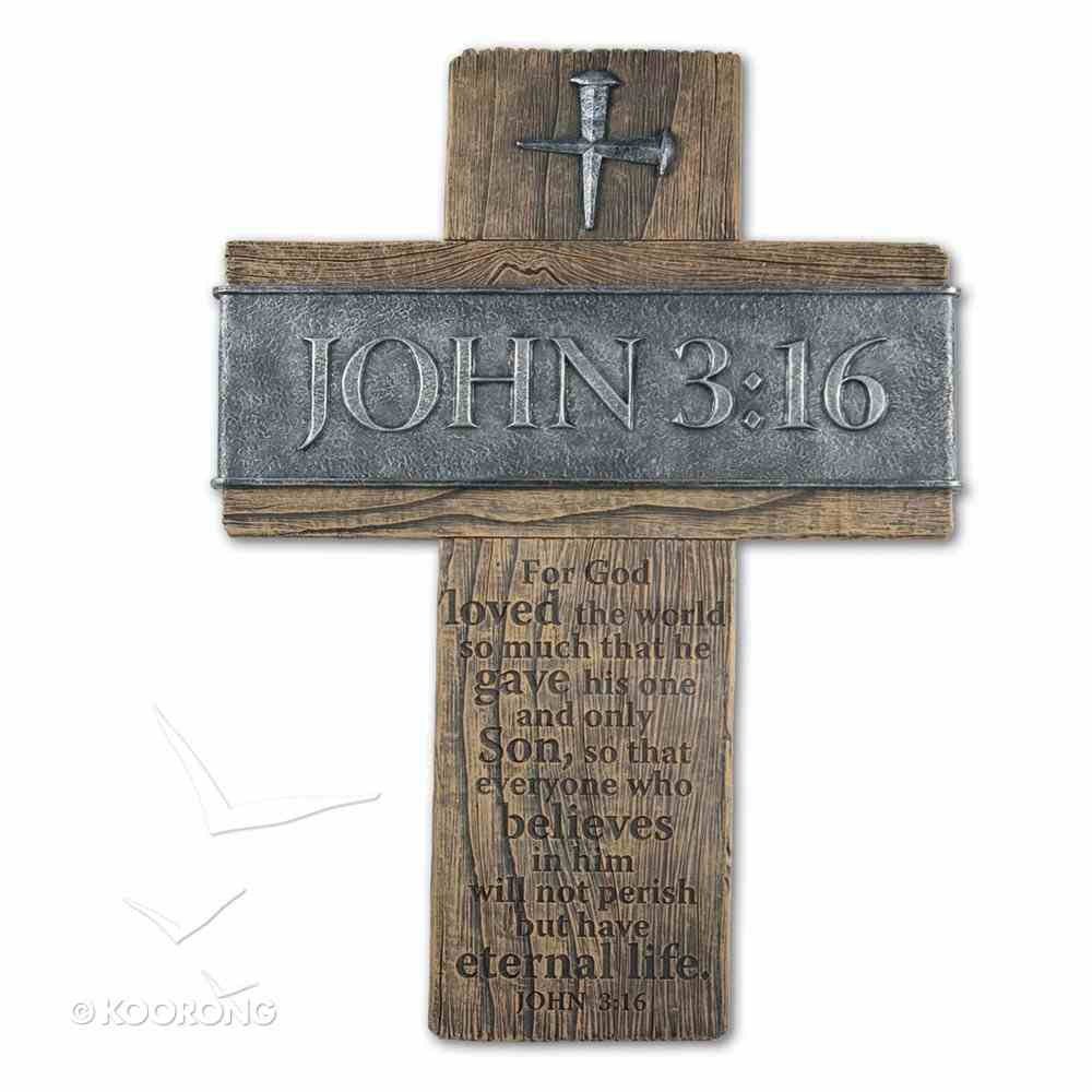 Large Wall Cross: John 3:16 (Polyresin) Plaque