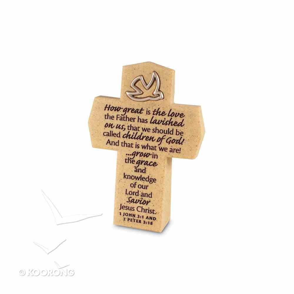 Resin Cross With Dove Symbol: How Great is the Love Homeware