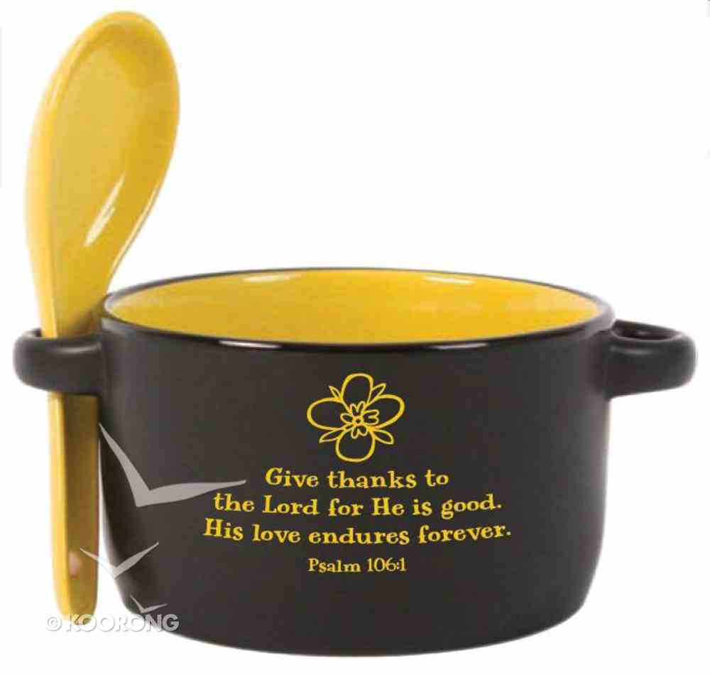Designer Spoon & Bowl: Give Thanks to the Lord, Psalm 106:1, Yellow Homeware
