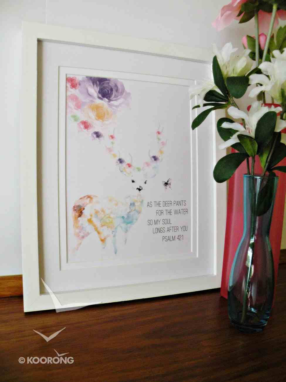 Small Framed Print: Deer Watercolour - as the Deer Pants For the Water Psalm 42:1 Plaque