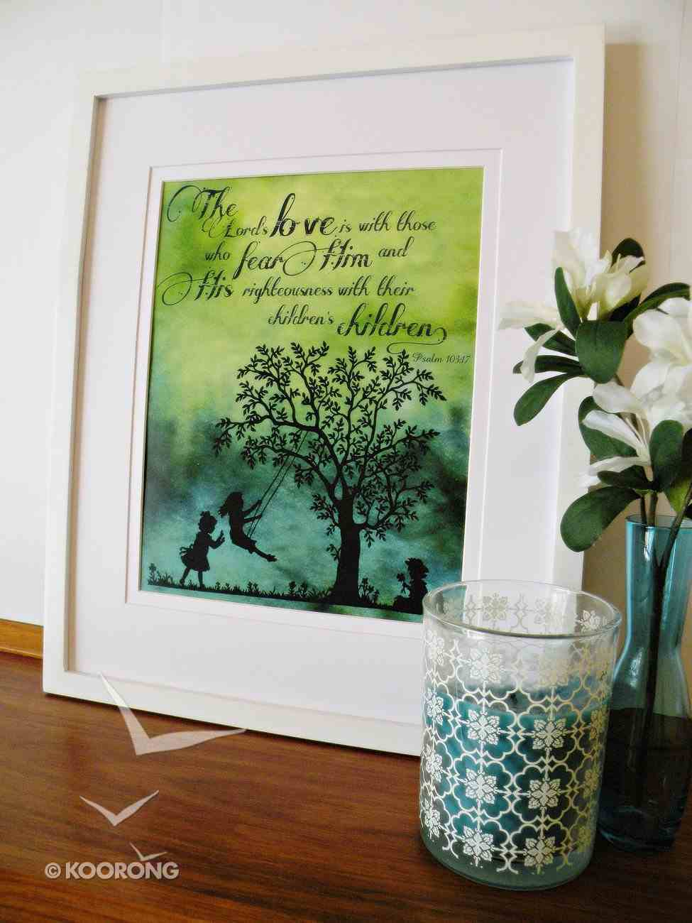 Medium Framed Print: Children Playing Swing Tree - the Lord's Love Psalm 103:17 Plaque