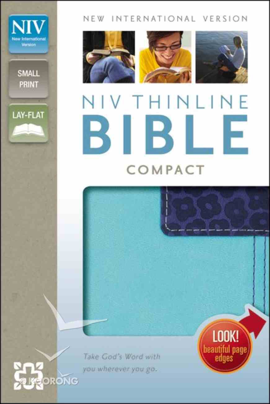 NIV Thinline Compact Bible Italian Duo-Tone Turquoise/Blueberry (Red Letter Edition) Imitation Leather