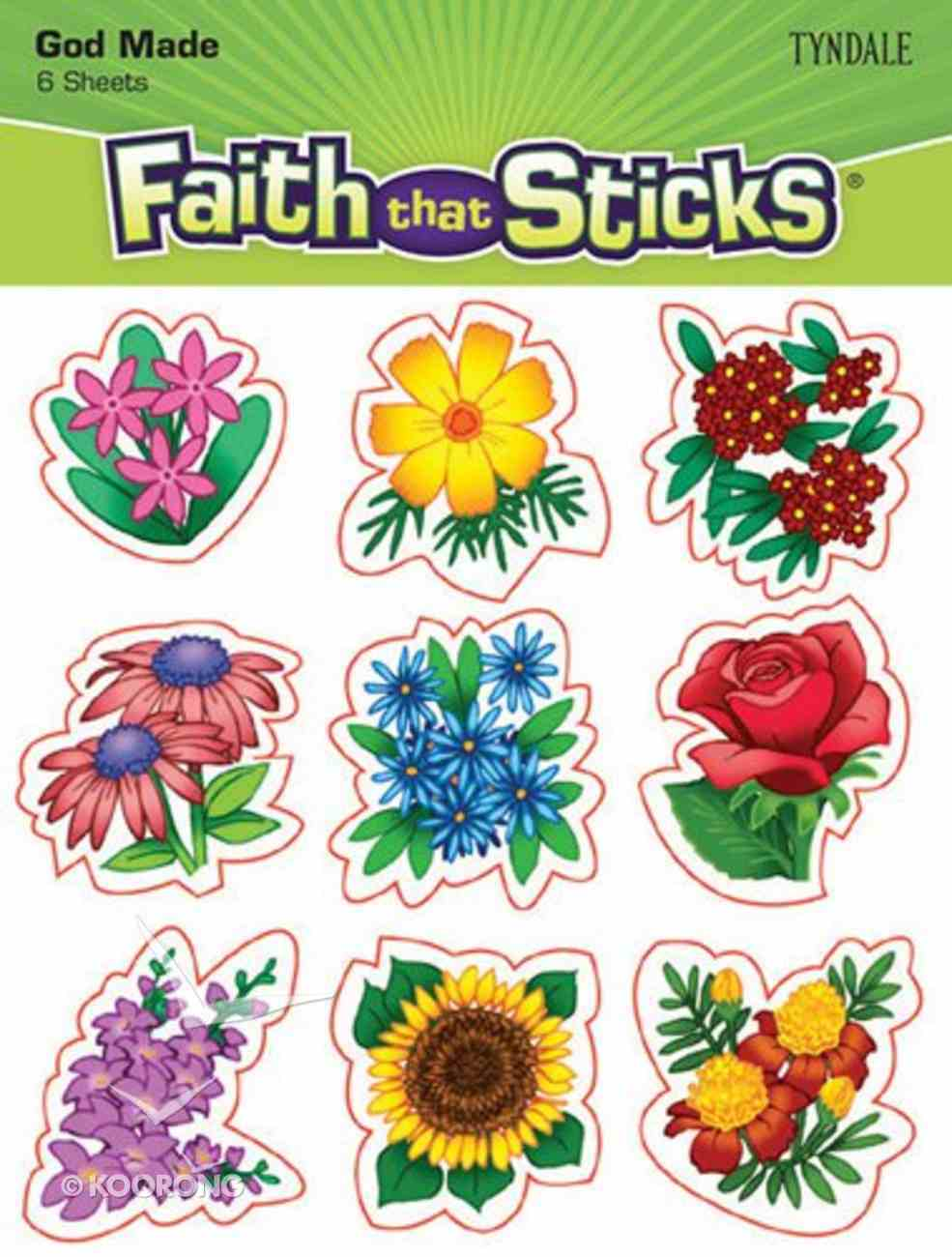 God Made Flowers (6 Sheets, 54 Stickers) (Stickers Faith That Sticks Series) Stickers