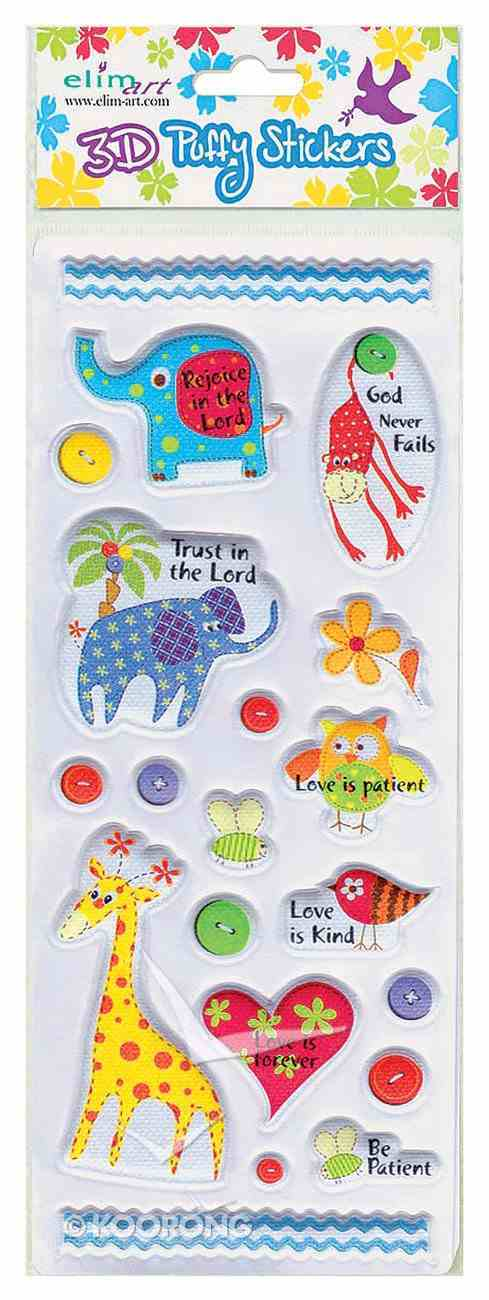 Puffy Stickers: Rejoice in the Lord, Animals (1 Sheet Per Pack) Novelty