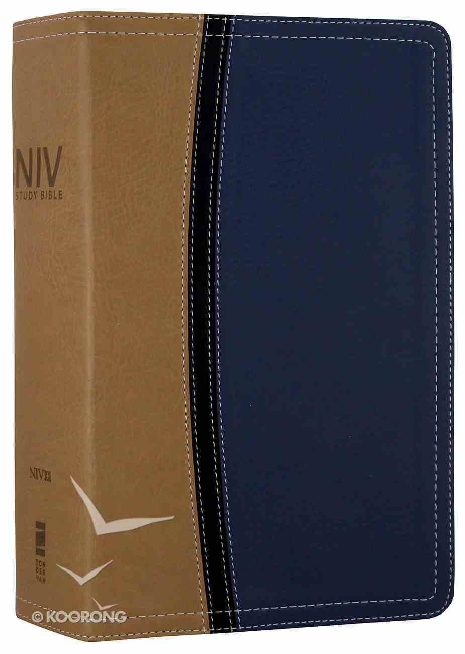 NIV Study Bible Personal Size Tan/Blue (Red Letter Edition) Premium Imitation Leather