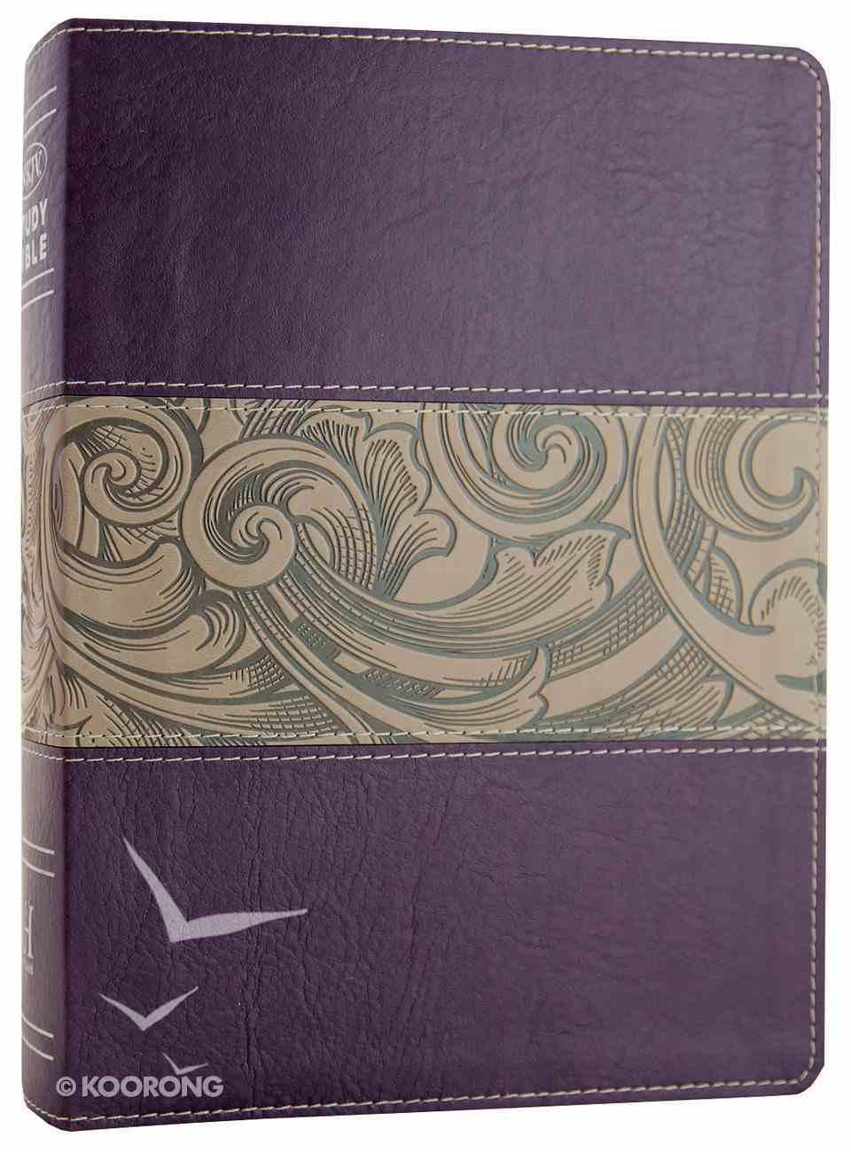 NKJV Holman Study Bible Eggplant/Tan (Full Colour) Premium Imitation Leather