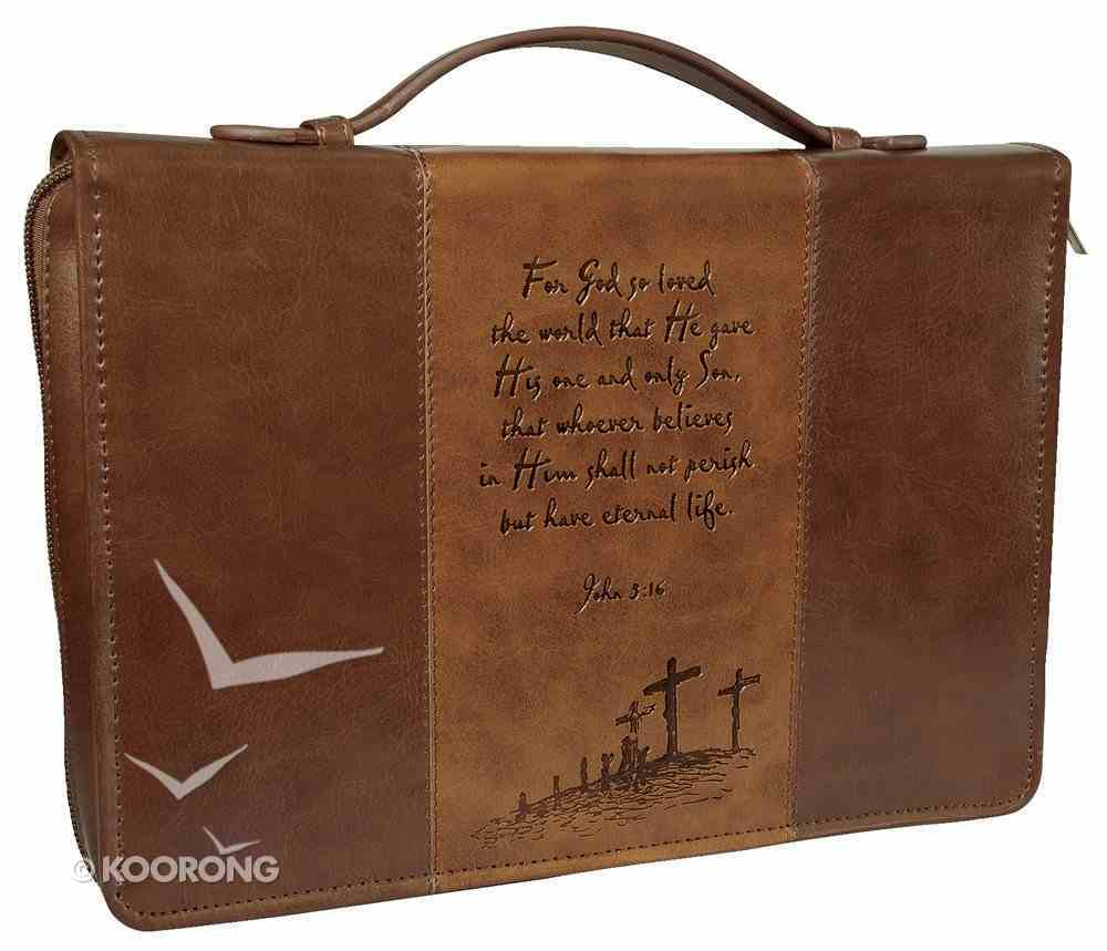 Bible Cover John 3: 16 Brown/Tan Large Two-Tone Luxleather Imitation Leather