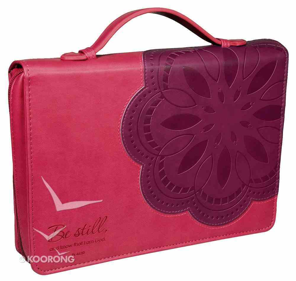 Bible Cover Be Still Pink/Purple Flower Large Fashion Trendy Luxleather Imitation Leather
