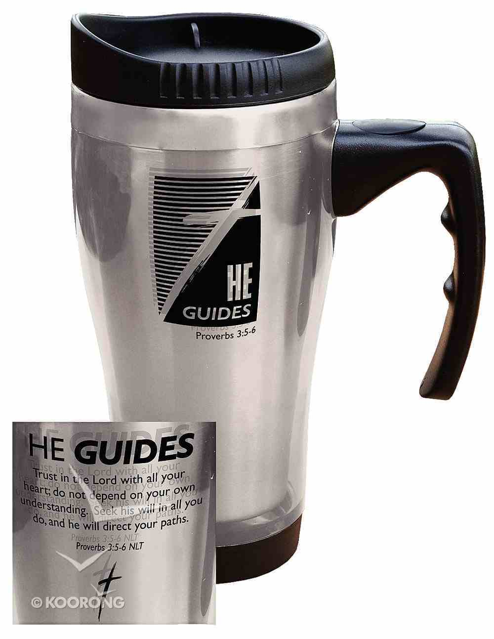 Stainless Steel Travel Mug: He Guides (Silver) Homeware