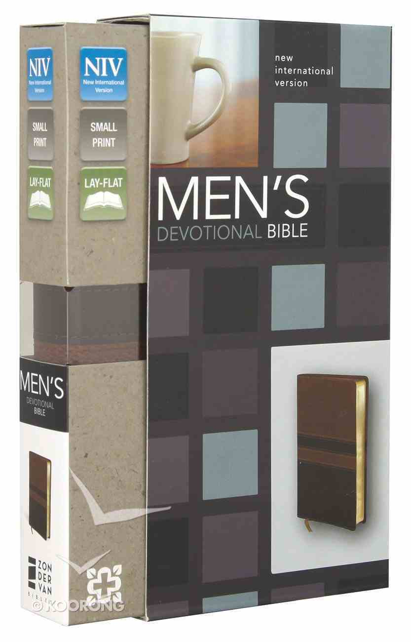 NIV Men's Devotional Bible Compact Walnut/Espresso (Black Letter Edition) Premium Imitation Leather