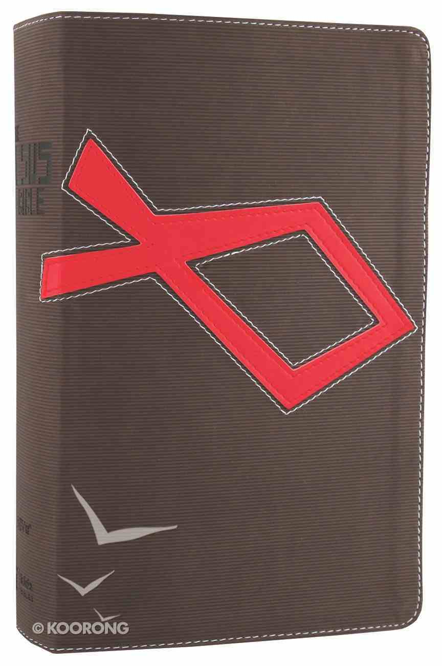 NIV Jesus Bible Brown/Red (Red Letter Edition) Premium Imitation Leather